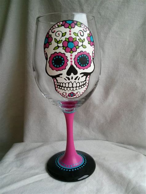 skull barware sugar skull hand painted wine glass day of the dead dia de los muertos pink turquoise