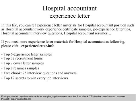 Letter For Work Experience In Hospital hospital accountant experience letter