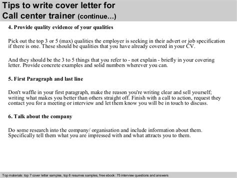 Call Center Trainer Cover Letter by Call Center Trainer Cover Letter
