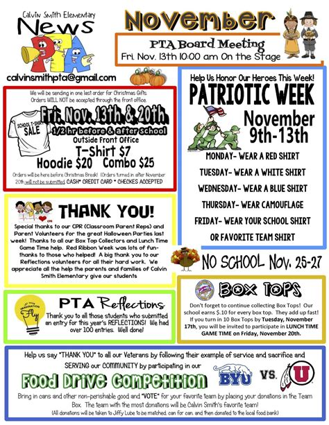 November Pta Newsletter Newsletter Templates For Drive