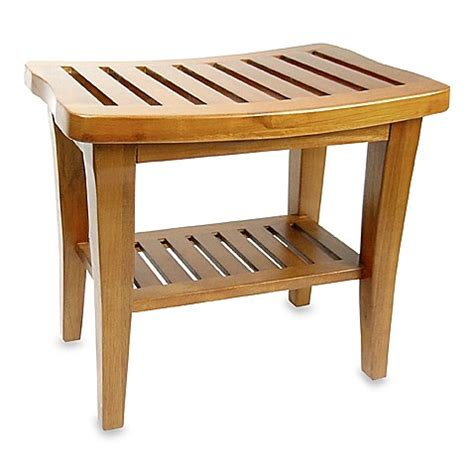 teak wood shower bench www bedbathandbeyond com
