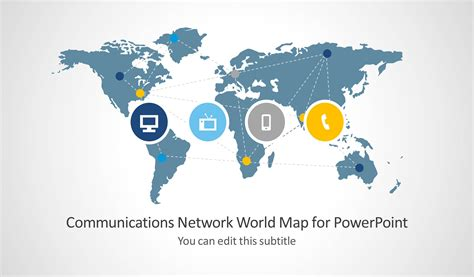 Communications Network Template With World Map For Powerpoint Slidemodel Microsoft Powerpoint Templates World Map