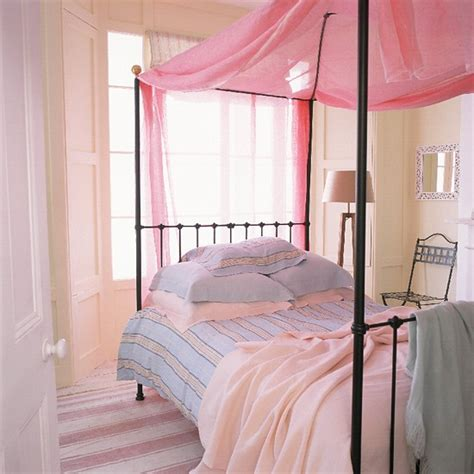 pastel bedroom bedroom with black four poster bed and pastel accessories housetohome co uk
