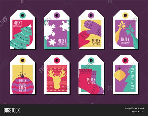 new year greeting etiquette set vector gift tags vector photo bigstock