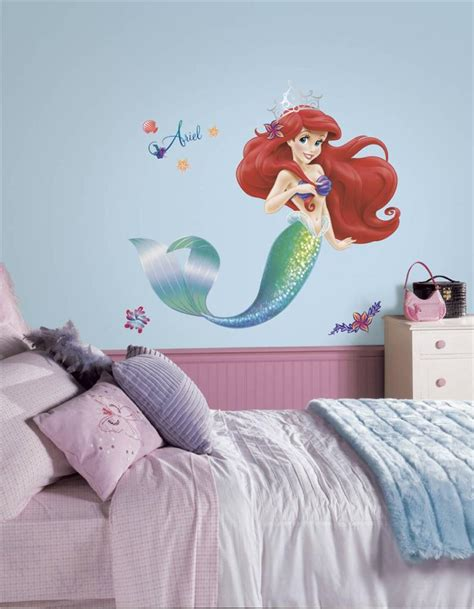 the little mermaid bedroom decor new giant little mermaid wall decals girls disney bedroom stickers ariel decor ebay