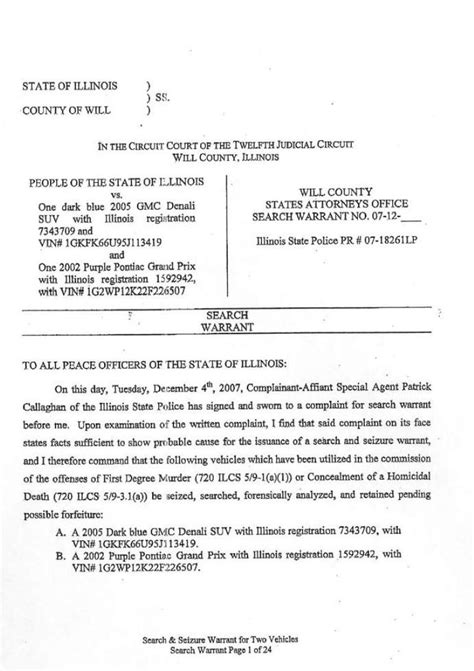 Will County Search Warrant Stacy Peterson Search Warrant120407 Htm