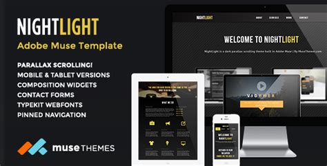 adobe muse mobile templates nightlight parallax muse template by musethemes