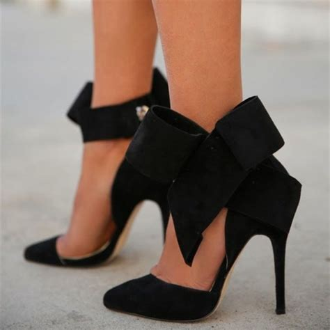 high heels with bows on the side black side bow heels closed toe stiletto heel suede pumps