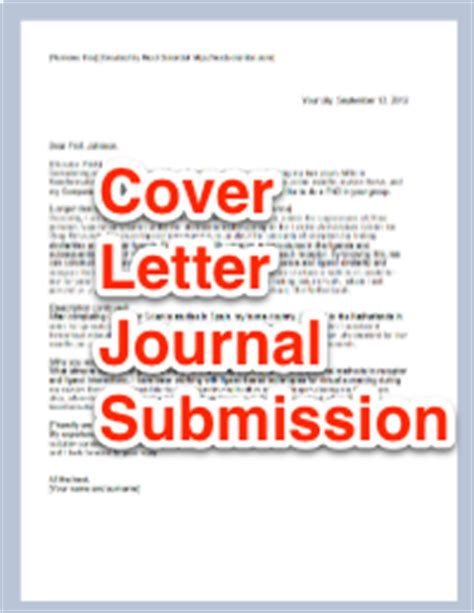 Cover Letter Scientific Journal cover letter for scientific journal