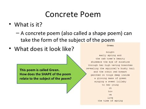 concrete poem template concrete poems