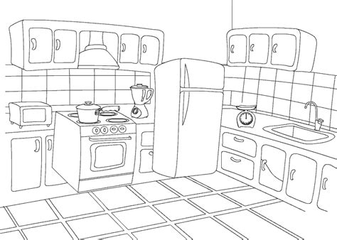 coloring page of a kitchen kitchen coloring pages to download and print for free