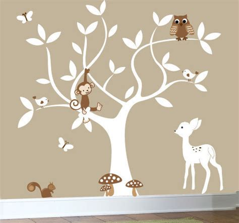 Nursery Swirl White Tree Bird Owl Leaf Leaves Squirrel White Tree Wall Decal For Nursery