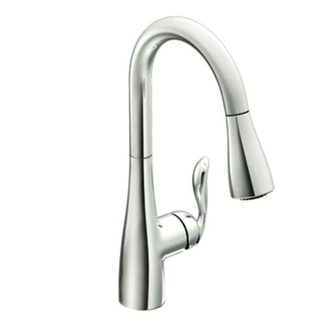 single handle high arc kitchen faucet moen 7594c arbor single handle high arc pulldown kitchen faucet chrome faucetdepot com