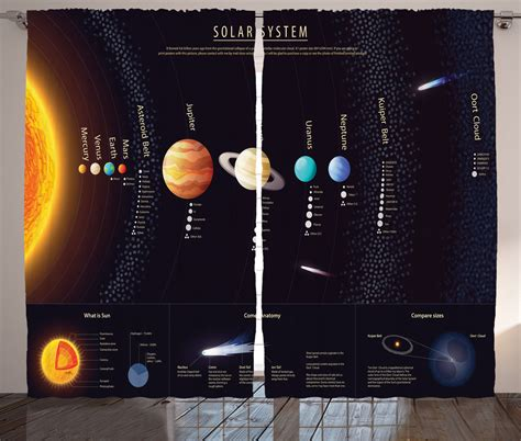 solar system curtains solar system with jupiter saturn universe telescope print