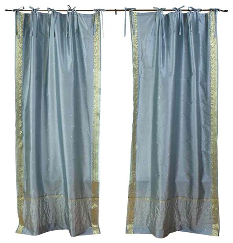 Tie Top Curtains Shop Houzz Indian Selections Gray Tie Top Sheer Sari Curtain Drape And Panel Pair Curtains