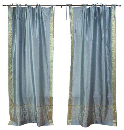 tie top sheer curtains shop houzz indian selections gray tie top sheer sari