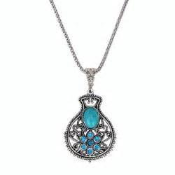 Vase Necklace by Bohemian Ethnic Tribal Tibetan Silver Rhinestone Turquoise
