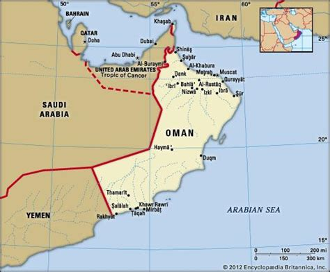 map of oman with cities oman history geography britannica