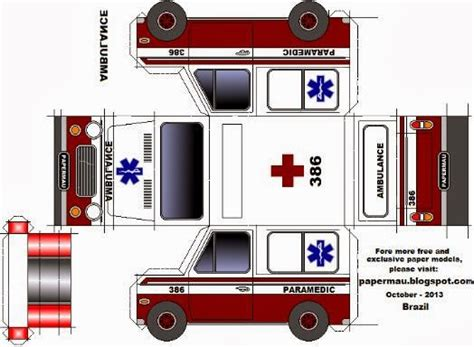 How To Make Paper Models - papermau easy to build ambulance paper model by