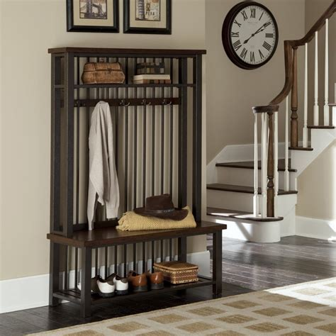 hall tree and bench shop home styles cabin creek transitional chestnut hall tree bench at lowes com