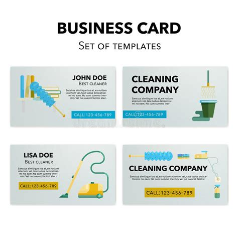 business card template cleaner company strapless cleaning company business cards set stock vector