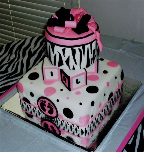 Pink And Zebra Baby Shower by Pink And Zebra Print Babyshower Cake Cakecentral