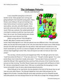 fourth grade reading comprehension worksheet the unhappy