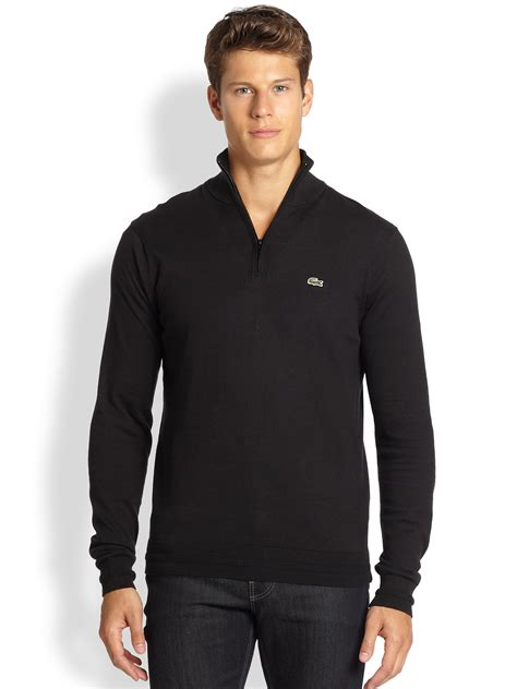 Lacoste Croc Zippered 2892 lyst lacoste quarter zip sweater in black for