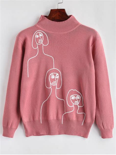 Embroidered Mock Neck Sweater 2018 embroidered mock neck sweater in pink one size zaful