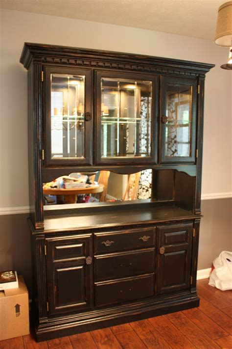 diypainted china cabinet  distressed  mirrored