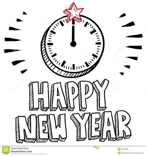 printable midnight clock midnight clock new year s eve sketch stock vector