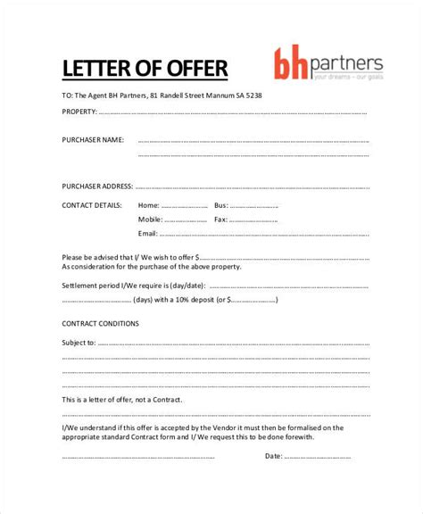 property offer letter templates word