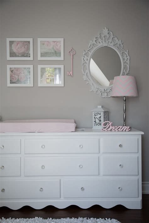 light gray dresser nursery pink and gray baby girl nursery tour oh she glows