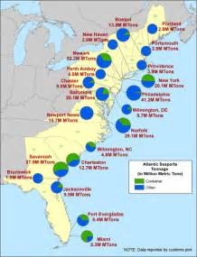 map of southern east coast of us ports in virginia