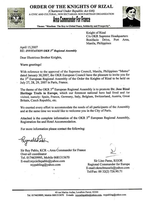 Schengen Invitation Letter Exle The Knights Of Rizal Downloadables