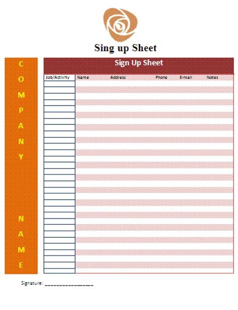 signup sheet template free business templates