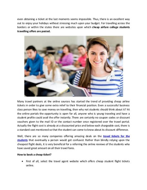 saving money with student discount airline tickets