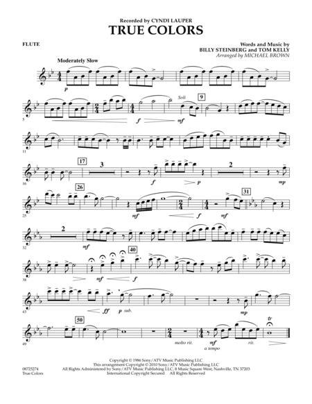true colors flute sheet by cyndi lauper