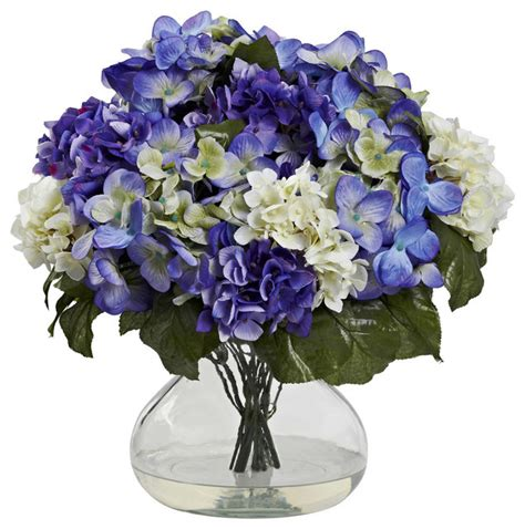 Blue Artificial Flowers In Vase by Nearly Hydrangea With Large Vase In Blue Purple