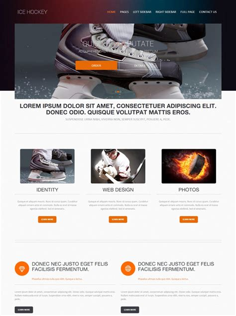 Ice Skating Website Template Ice Hockey Sports Dreamtemplate Hockey Website Template