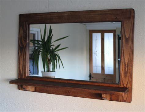 Handmade Mirror Frames - mirror with inbuilt shelf wood eco friendly