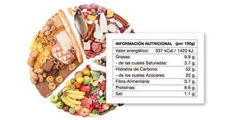 envasado alimentos etiquetado de valores nutricionales en alimentos envasados
