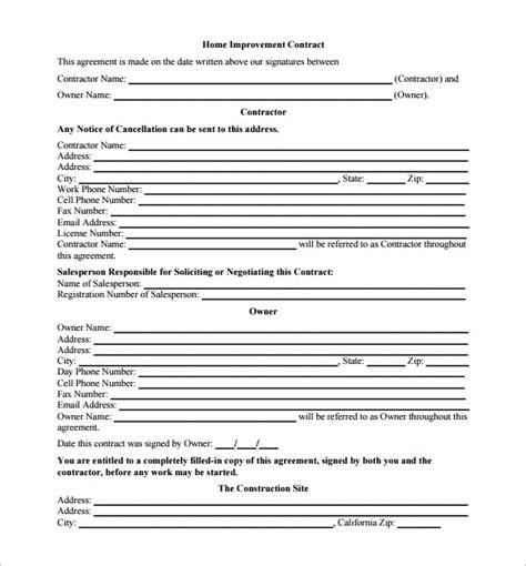 remodeling contract template contract template home
