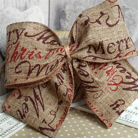 wired traditional merry christmas hessian ribbon mm cake wreath tree jute  ebay