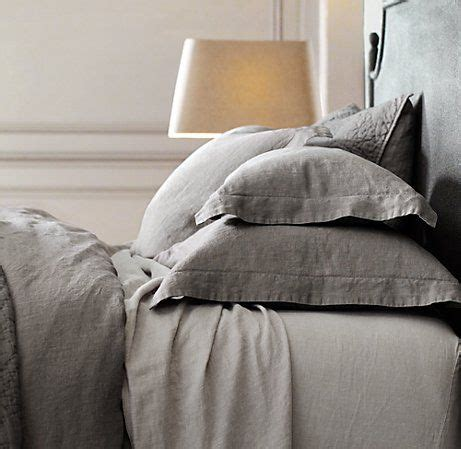 Restoration Hardware Linen Sheets Gray Bedding Grey And Grey Bed On