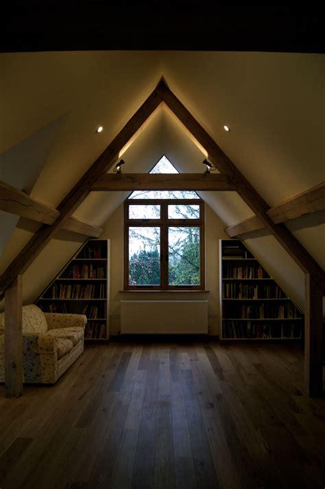 spot lights  top  oak beams  light vaulted ceilings