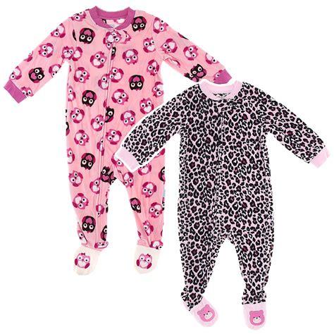 toddler footed pajamas pink owl pink leopard 2 pack toddler footed pajamas