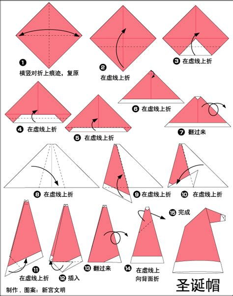 How To Make Origami Cap - origami santa cap