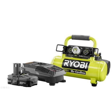 ryobi 18 volt one lithium ion cordless 1 gal air compressor with lithium ion upgrade kit p739