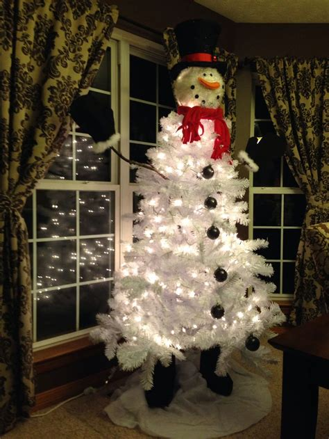 christmas tree decorated like snowman myideasbedroom com
